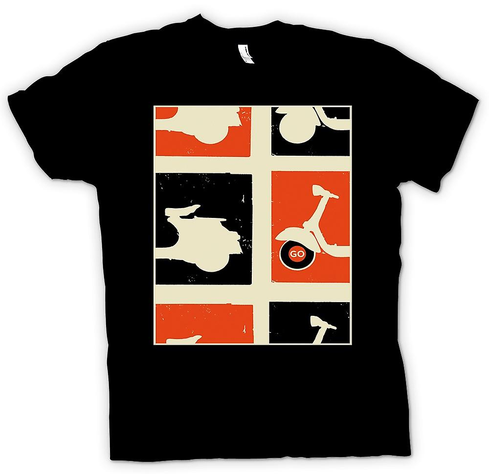 Mens T-shirt - Vespa Scooter - Pop Art Poster Go