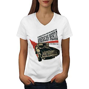 American Muscle Frauen WhiteV-Neck T-shirt   Wellcoda