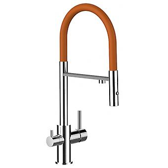 The three-way faucet kitchen pull-out chrome Orange barrel 2 lobes and jets to filter water purifier