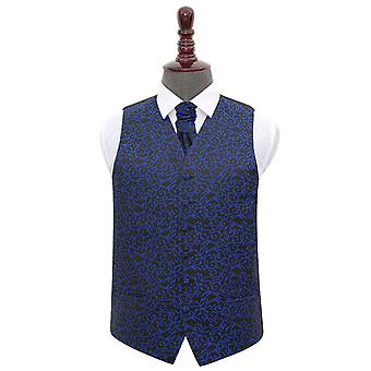 Black & Blue Swirl Wedding Waistcoat & Cravat Set