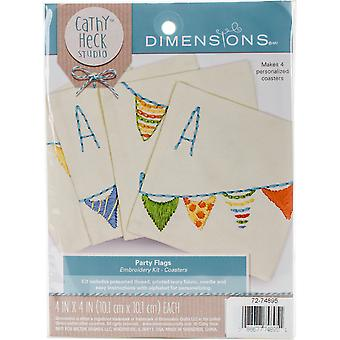 Cathy Heck Party Flags Coasters Embroidery Kit-4