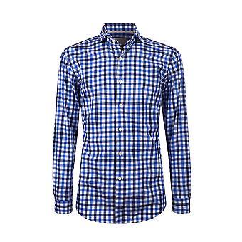 Fabio Giovanni Positano Shirt - Mens High Quality Italian Poplin Cotton Navy & Blue Gingham Check Shirt