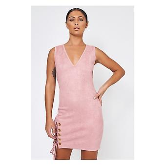 The Fashion Bible Pink Suede Lace Up Dress