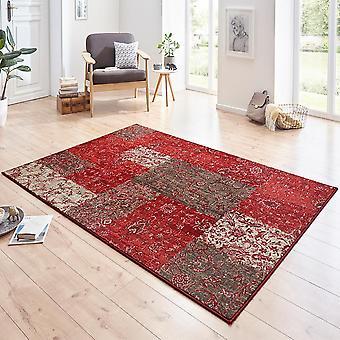 Ontwerper velours tapijt Kirie rood bruin