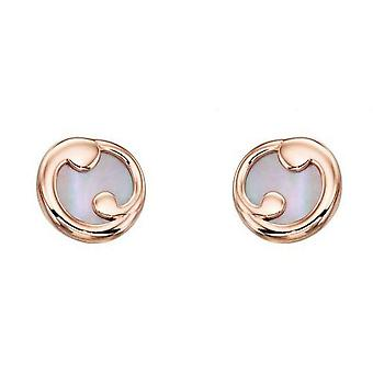 Elements Gold Mother of Pearl Slice Stud Earrings - Rose Gold/White
