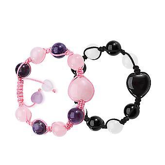 陰陽心エネルギー愛カップルや親友魔法瑪瑙薔薇ピンク白紫水晶ブレスレット