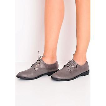 metallic lace up brogue shoes grey