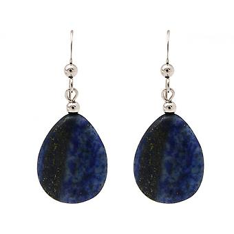 Ladies earrings 925 Silver lapis lazuli drop blue 3 cm