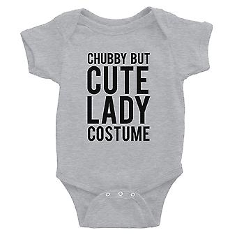 Chubby But Cute Lady Costume Baby Bodysuit Gift Grey