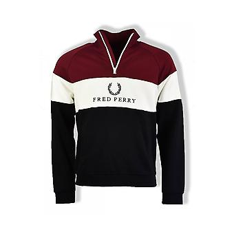 Fred Perry Embroidered Panel Sweatshirt (Tawny Port)