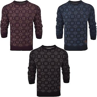 Soul Star Mens Knitted Crew Neck Snowflake Jumper sweater Top