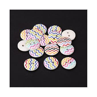 Packet 10 x Multicolour Wood 15mm Round 2-Holed Patterned Sew On Buttons HA14300