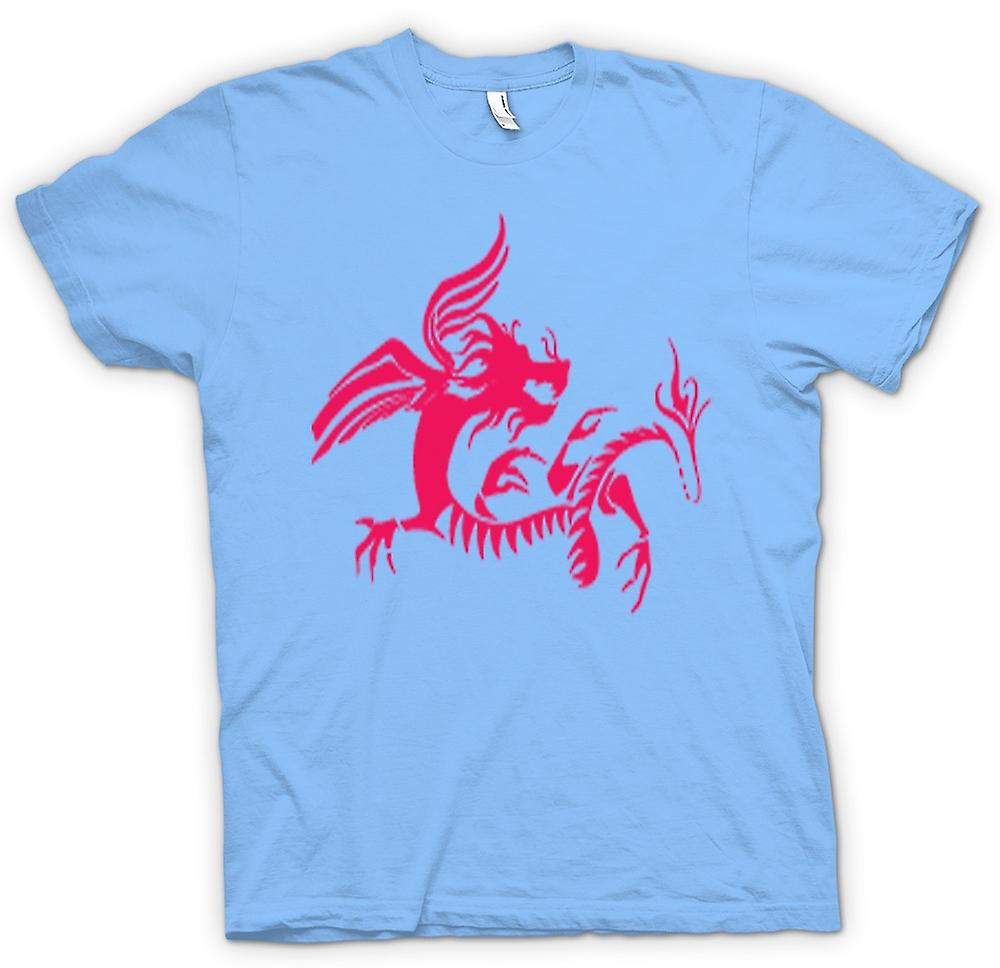 Mens T-shirt-Dragon Tribal Design