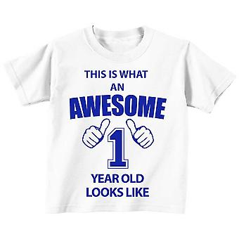 This is What An Awesome 1 Year Old Looks Like White Tshirt Blue Text