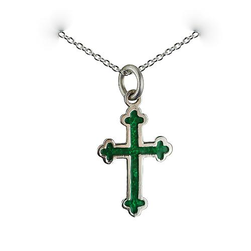 Silver 21x15mm green cold cure enameled club end edge Cross with a rolo Chain 16 inches Only Suitable for Children