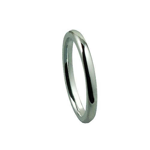 Silver 2mm plain Court shaped Wedding Ring