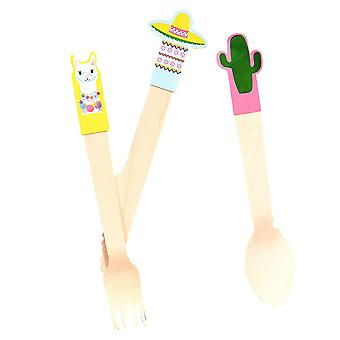 Viva La Fiesta Wooden Cutlery x 6 Knife / Fork / Spoon Mexican Party