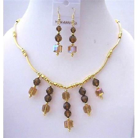 Swarovski Topaz AB Crystals Bridal Jewelry 22k Gold Plated Necklace