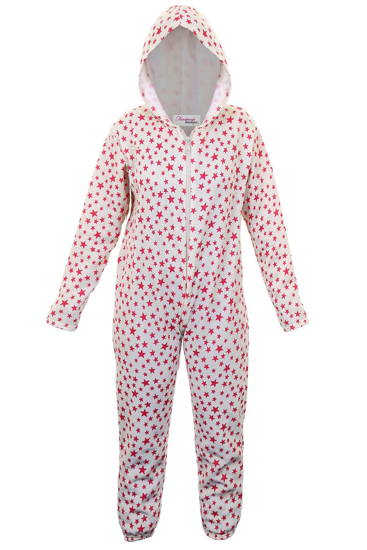 Girls Star Print Zip Front Comfy Children's Hooded All In One Sleepsuit Onsie
