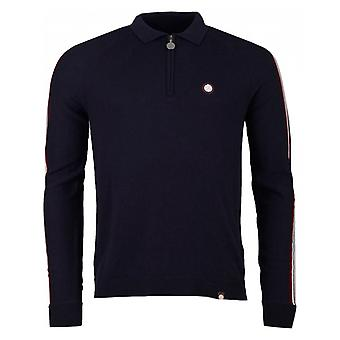 Pretty Green Zip Neck Knitted Polo Shirt