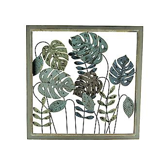 Metal Tropical Leaf Wood Frame Wall Sculpture