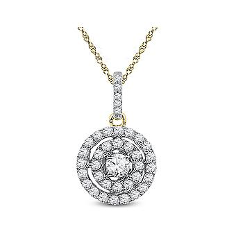 1/2 Carat (ctw Clarity I2-I3, J-K) Diamond Pendant Necklace in 10K White and Yellow Gold with Chain