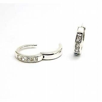 The Olivia Collection Sterling Silver Huggie Earrings With Cubic Zirconias