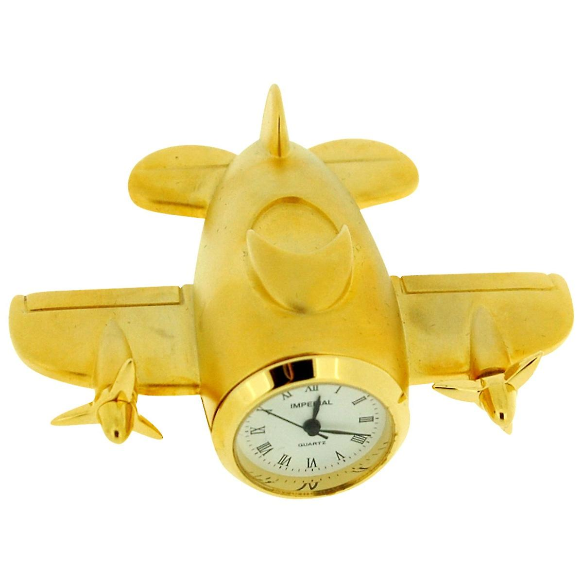 Clock Collectors Imp63 Miniature Metal Analogue Gold Plated Aeroplane Novelty dhQrCxts