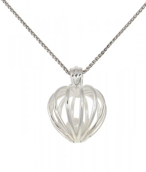 Cavendish French Silver heart birdcage pendant with fresh water pearl. Without Chain