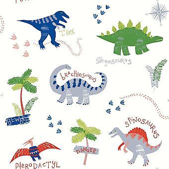 Dino Doodles multicolore papier peint dinosaures enfants chambre à coucher animaux Arthouse