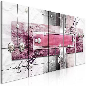 Canvas Print - Mysterious Mechanism (5 Parts) Narrow Pink