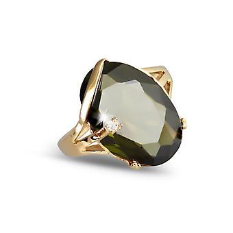 Guldpläterad ring med Olivine Zirkonium och Cubic zirkonium