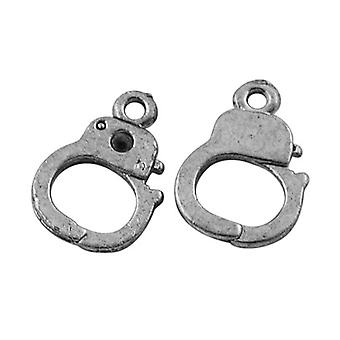 Packet 30 x Antique Silver Tibetan 14mm Handcuffs Charm/Pendant ZX00425