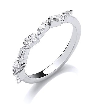 Jewelco London Ladies Rhodium Plated Sterling Silver white baguette cubic Zirconia Zig Zag Art Deco Eternity Ring