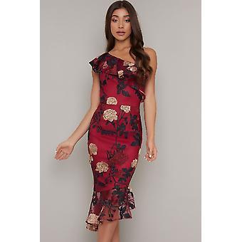Burgundy Floral Embroidered One Shoulder Dress