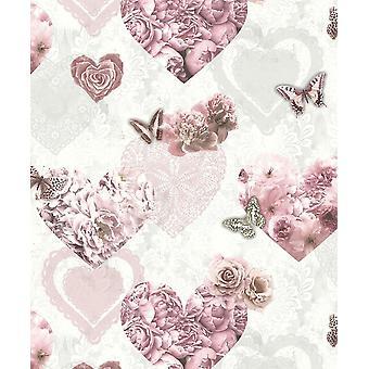 Pink White Floral Glitter Fonds d'écran Papillons Hearts Girls Flowers Arthouse