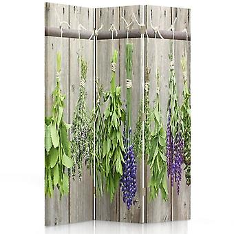 Room Divider, 3 Panels, Double-Sided, Rotatable 360 ??° Canvas, Herbs