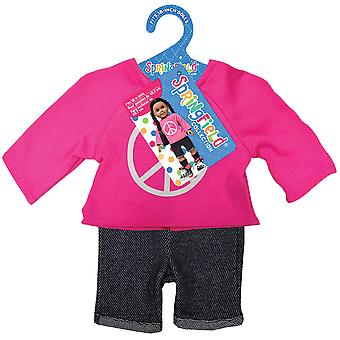 Springfield Collection Peace Sign Sweatshirt & Shorts-Pink & Blue 3170FS