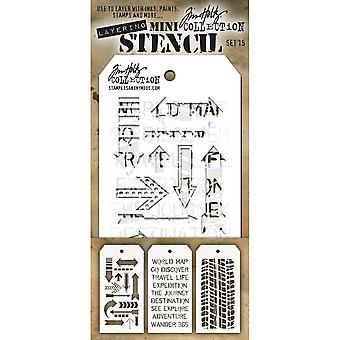 Tim Holtz Mini Layered Stencil Set 3/Pkg-Set #15 MTS-15
