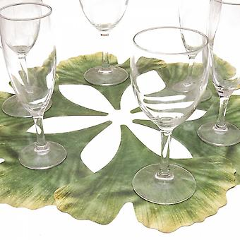6 glass coasters motif flower Gingkoblatt Green