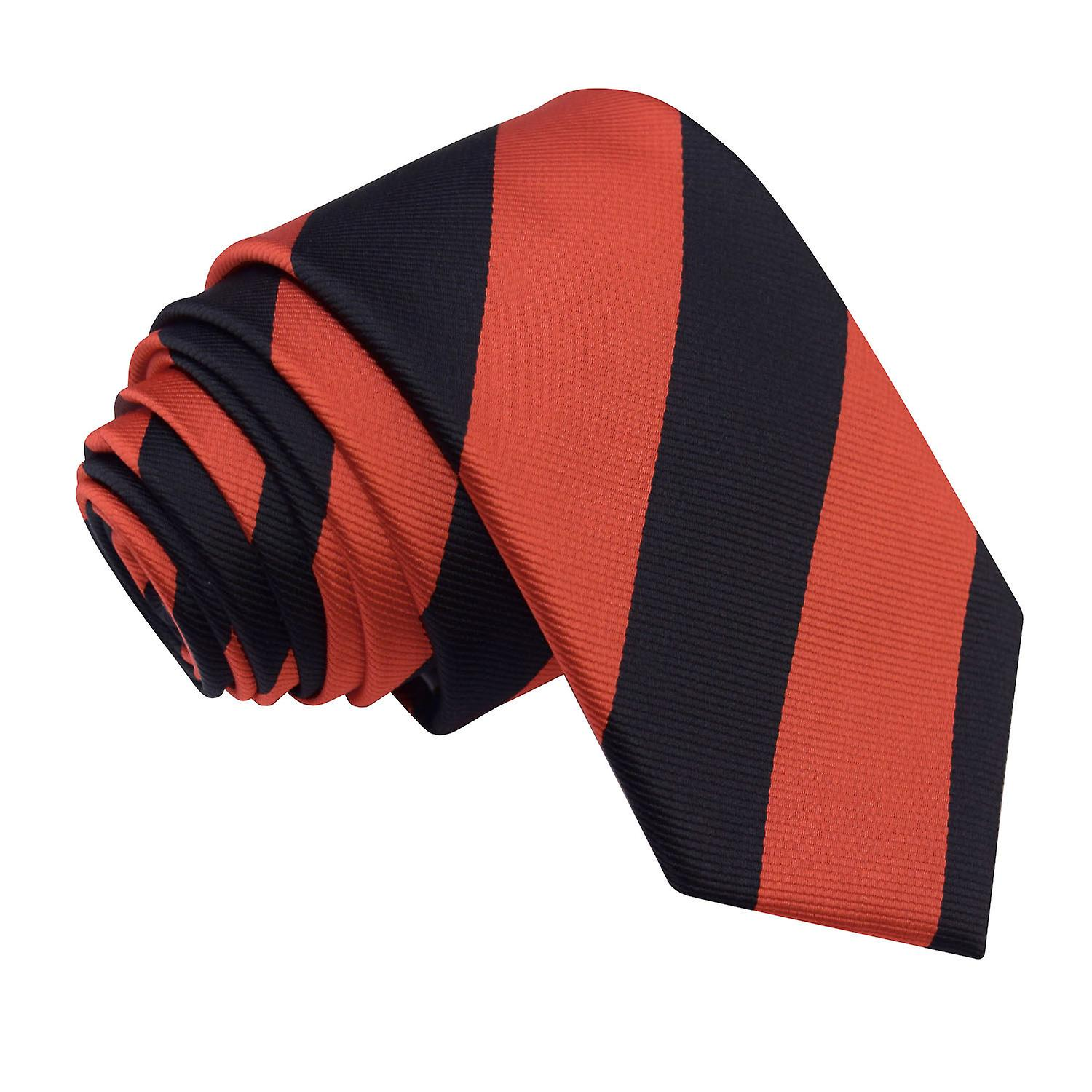 Striped Red & Black Slim Tie
