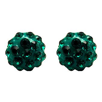 Butler and Wilson Small Round Emerald Green Pave Stud Earrings