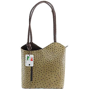 Elegant Leather Shoulder Bag CTM ostrich print