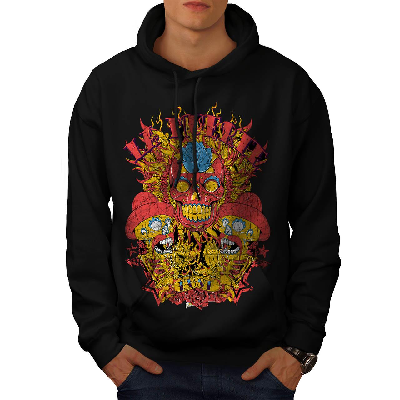 Muerte Lust Skull Hat Mexican Men Black Hoodie | Wellcoda