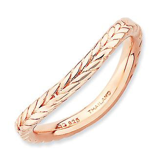 2.25mm Sterling Silver Stackable Expressions Polished Pink-plate Wave Ring - Ring Size: 5 to 10