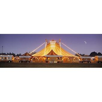 Circus lit up at dusk Circus Narodni Tent Prague Czech Republic Poster Print