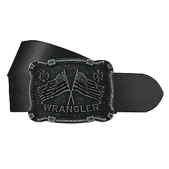 WRANGLER belt leather men belt black