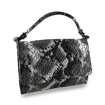 Black and Gray Snakeskin Mock Croc Envelope Clutch w/Removable Handle