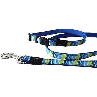 HEM & Boo Nylon hvalp sæt Zig Zags blå 10mm X20-30 cm (120 cm)