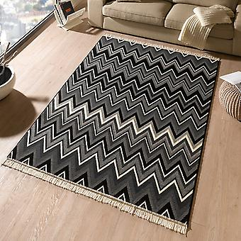 Design velour carpet streak with fringe black grey | 102357